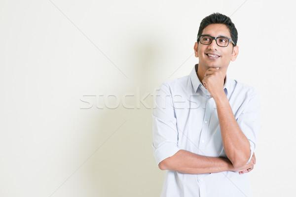 случайный бизнеса индийской мужчины мышления портрет Сток-фото © szefei