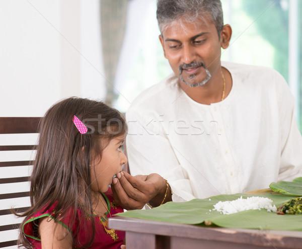 Stockfoto: Vader · kind · indian · familie · dining