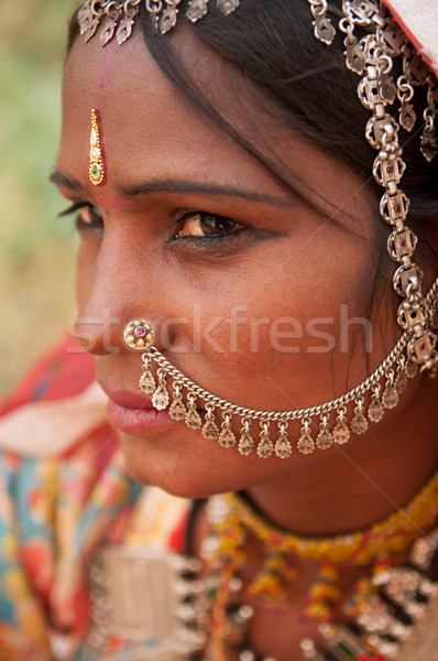 Portrait of traditional Indian girl in saree Stock photo © szefei