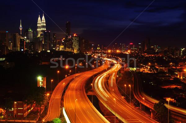 Kuala Lumpur gece görmek şehir Malezya gökyüzü Stok fotoğraf © szefei
