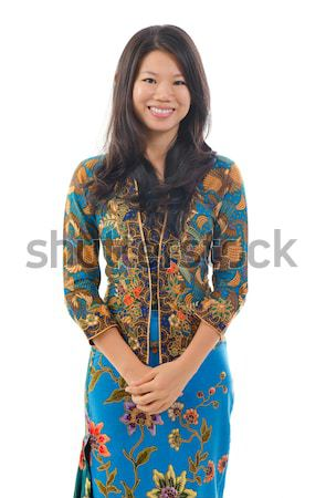 Southeast Asian woman in traditional batik kebaya Stock photo © szefei