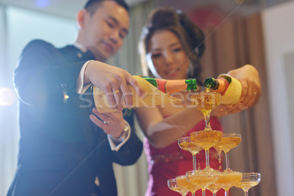 Stockfoto: Bruiloft · diner · champagne · asian · chinese