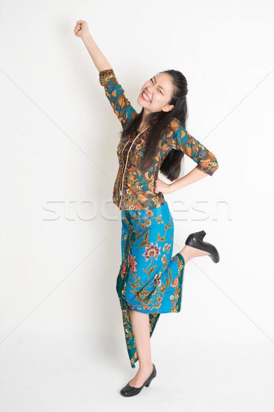 Boldog ázsiai női éljenez teljes alakos portré Stock fotó © szefei