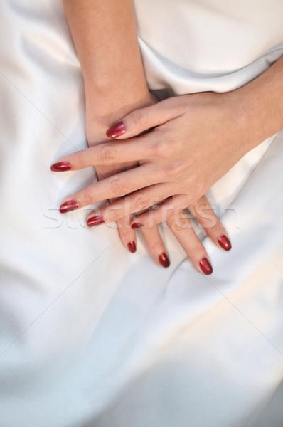 Bride's hands Stock photo © szefei