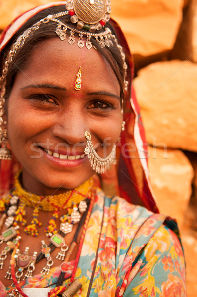 Traditional Indian girl smiling happily Stock photo © szefei