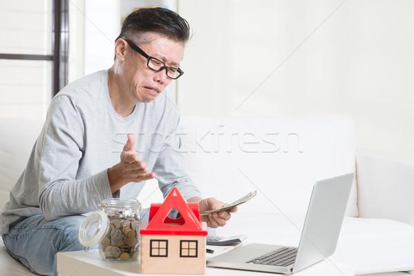 Cashflow probleem portret 50s volwassen asian Stockfoto © szefei