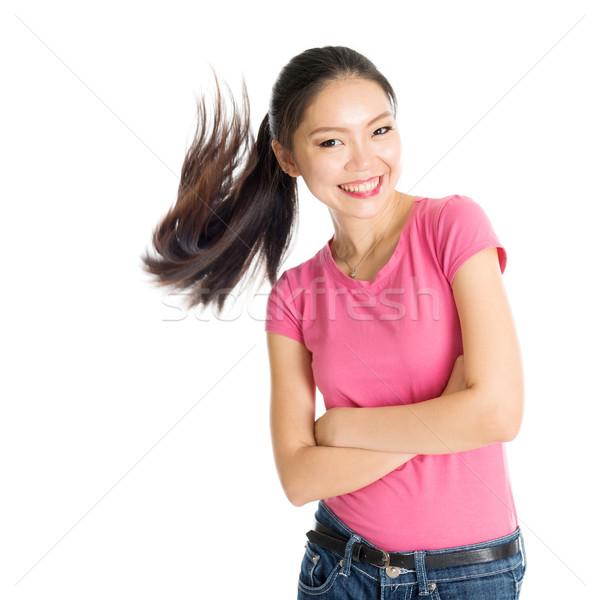 Jóvenes Asia feliz mujer rosa Foto stock © szefei