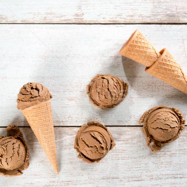 Top view chocolate ice cream  Stock photo © szefei