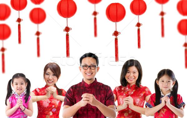 группа китайский люди приветствие Китайский Новый год изолированный Сток-фото © szefei