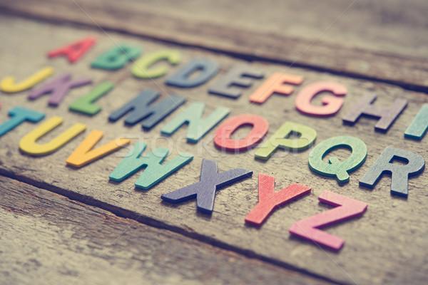 Foto stock: Colorido · inglês · alfabeto · conjunto · grunge