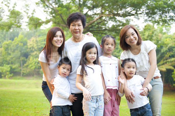 Drie generaties asian familie outdoor Stockfoto © szefei