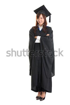 Egészalakos ázsiai diák boldog lány érettségi Stock fotó © szefei