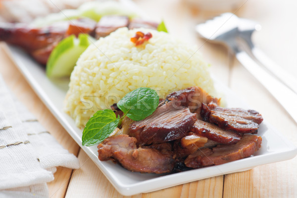 Charsiu Pork Rice Stock photo © szefei