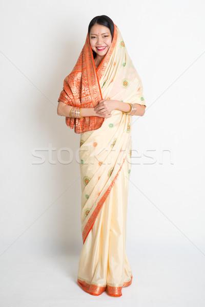 Female in Indian sari Stock photo © szefei