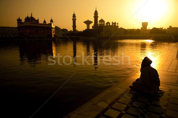 Szikh ima ül vmi mellett szent épület Stock fotó © szefei
