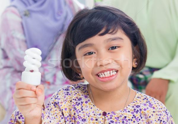 Foto d'archivio: Asian · ragazza · lampadina · idea · muslim · sud-est
