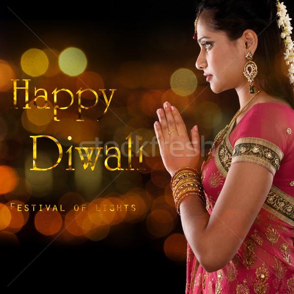 Stockfoto: Gelukkig · diwali · festival · lichten · indian · vrouw