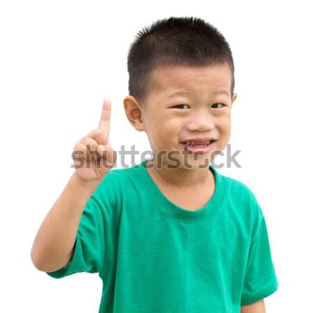 ázsiai fiú mutat legelső gyermek hüvelykujj Stock fotó © szefei