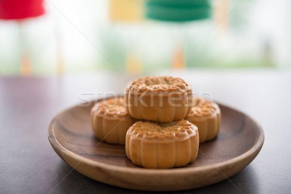 Moon cakes and Mid-Autumn Festival lanterns Stock photo © szefei