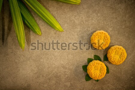 Moon cakes on low light background with copy space Stock photo © szefei