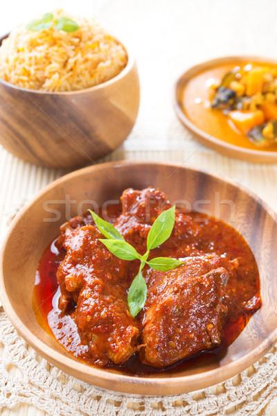 Foto stock: Caril · de · frango · indiano · arroz · fresco · cozinhado · prato