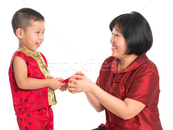 Célébration asian chinois garçon rouge Photo stock © szefei