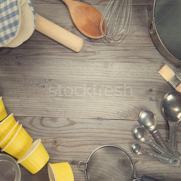 Baking tools in square composition Stock photo © szefei