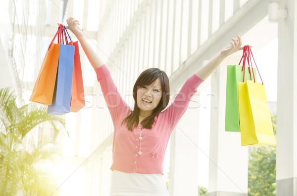 ázsiai emberek vásárlás derűs fiatal lány Stock fotó © szefei