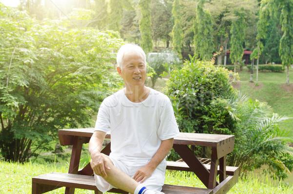 азиатских старик сидят парка портрет белые волосы Сток-фото © szefei
