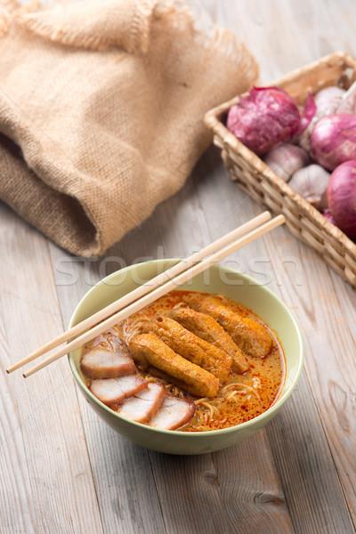 Sıcak köri makarna baharatlı asya mutfağı hazır Stok fotoğraf © szefei