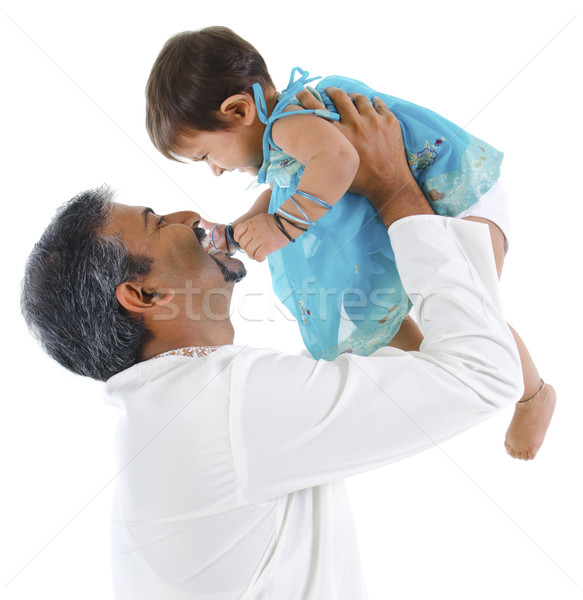 Pai jogar filha maduro tradicional indiano Foto stock © szefei