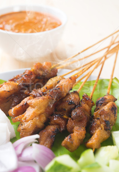 Asian gourmet chicken satay Stock photo © szefei