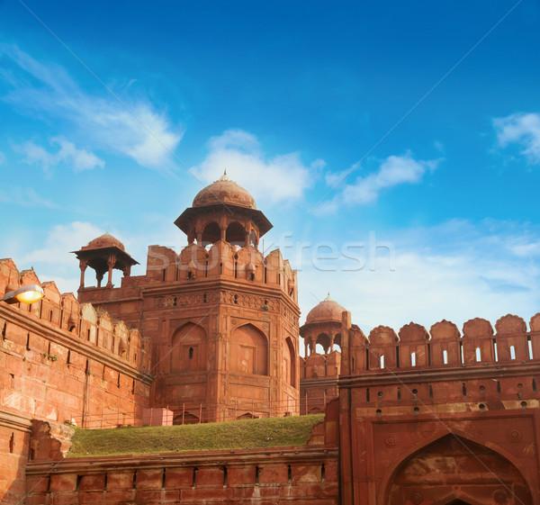 Stock fotó: Piros · erőd · napos · idő · India · utazás · turizmus