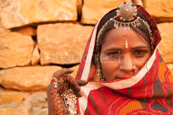 Sigilo tradicional indiano menina mulher traje Foto stock © szefei