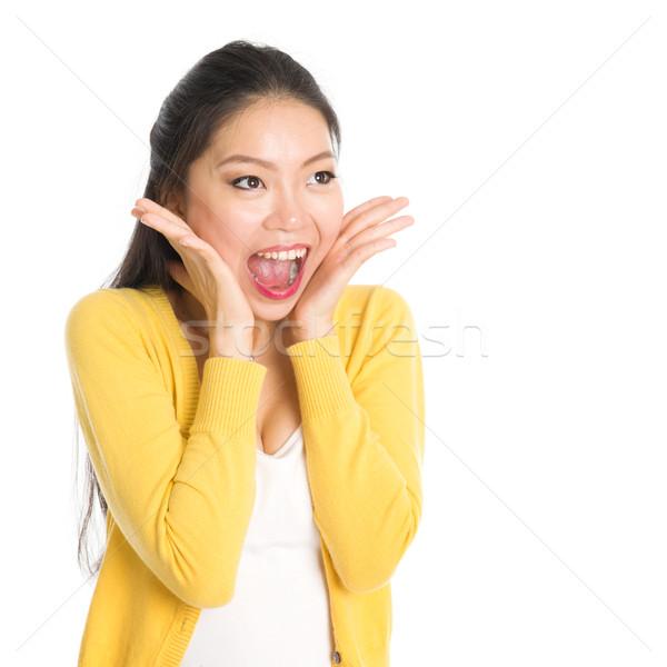 ストックフォト: アジア · 女性 · 開口部 · 広い