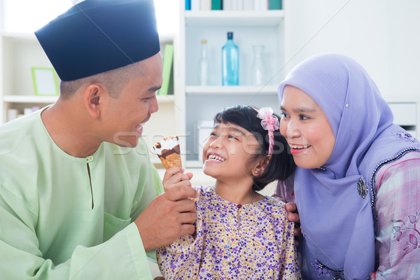 Asian family eat ice cream Stock photo © szefei