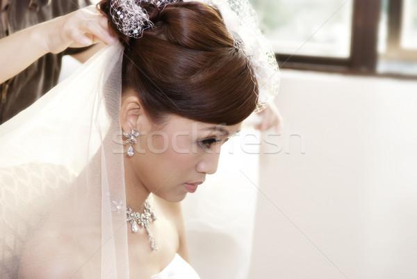 Mariée coiffure asian mariage jour femme Photo stock © szefei