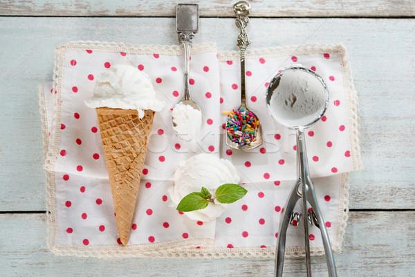 Top мнение кокосовое молоко мороженое черпать кокосового Сток-фото © szefei