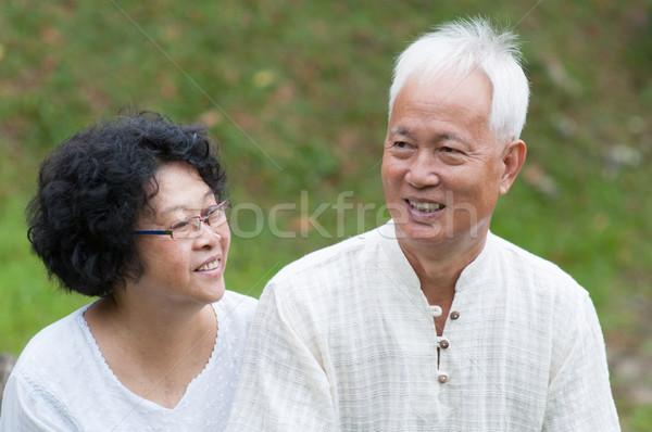 Stock fotó: érett · ázsiai · pár · szabadtér · portré · boldog