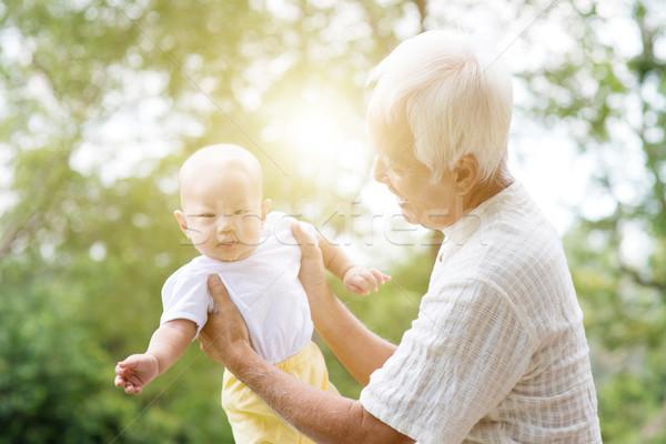 Avô cuidar neto feliz avô Foto stock © szefei