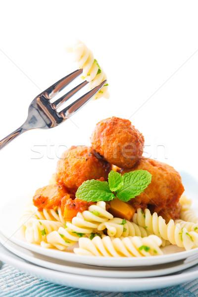 Fusilli on fork Stock photo © szefei