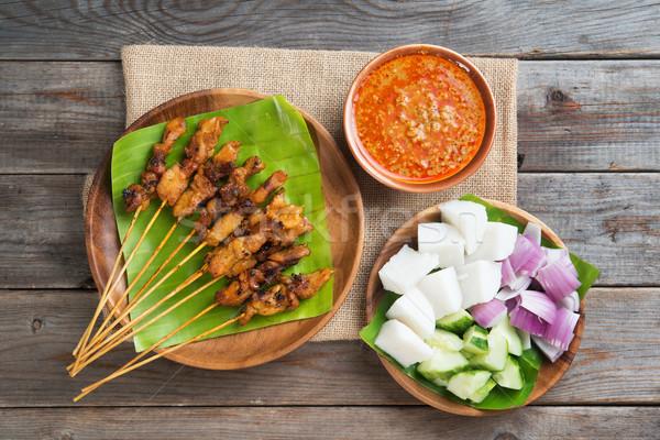 Malaysian chicken satay Stock photo © szefei