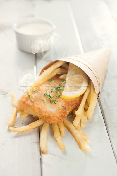 Fish and chips in cone Stock photo © szefei