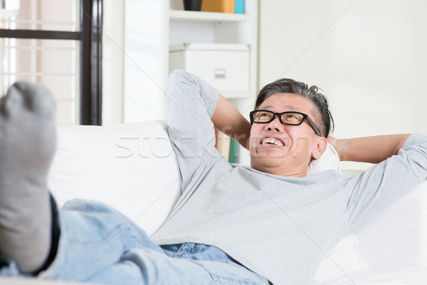Homme mûr rêvasser maturité 50s asian homme Photo stock © szefei