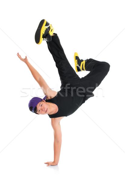 ázsiai hip hop táncos egészalakos hideg néz Stock fotó © szefei