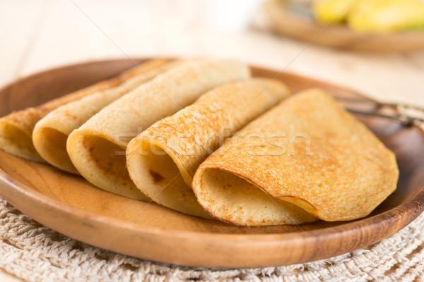 Eigengemaakt banaan pannenkoek crêpe asian stijl Stockfoto © szefei
