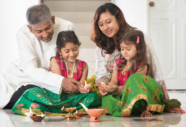 Stock photo: Indian family celebrating Diwali