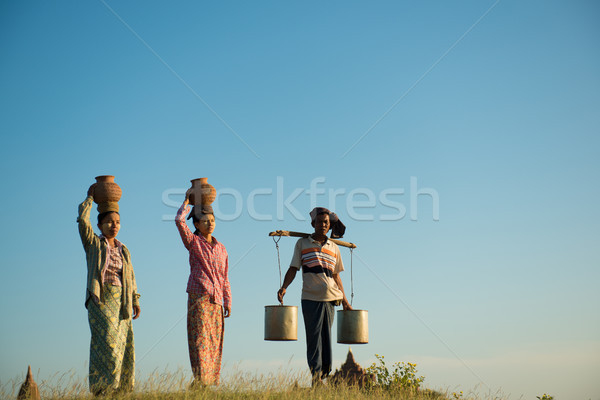 Group of Asian traditional farmers Stock photo © szefei