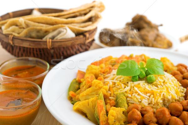 Arroz fresco cozinhado vapor delicioso culinária indiana Foto stock © szefei
