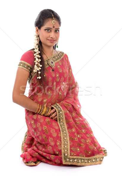 Indian girl in sari clothes Stock photo © szefei